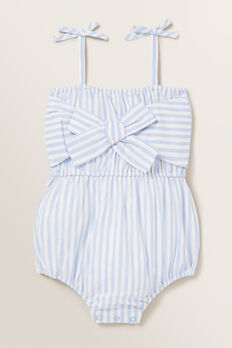 Metallic Stripe Romper  BABY BLUE  hi-res