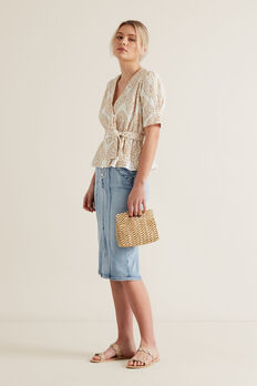 Two Tone Broderie Wrap Top  CLOUD CREAM  hi-res