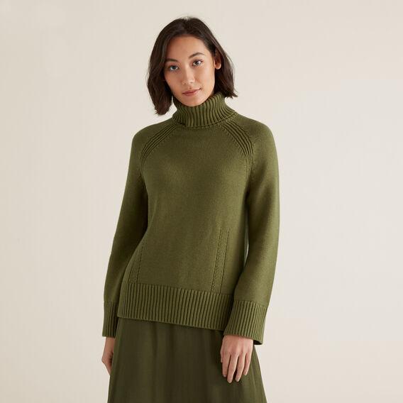 Chunky Roll Neck Sweater  CEDAR GREEN  hi-res