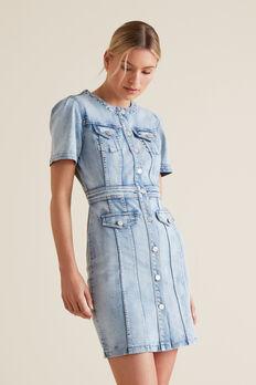 Button Through Denim Dress  LIGHT WASH DENIM  hi-res