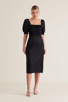Shirred Balloon Sleeve Dress  BLACK  hi-res
