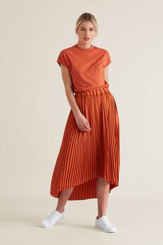 Pleated Skirt  SUNBURNT ORANGE  hi-res