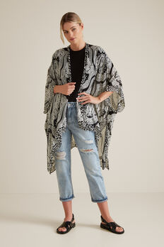 Summer Poncho  BLACK PAISLEY  hi-res