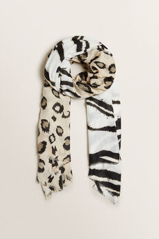 Mixed Animal Scarf  CLOUD CREAM MULTI  hi-res