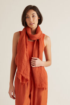 Linen Scarf  SUNBURNT ORANGE  hi-res