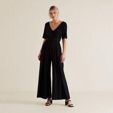 Wide Leg Belted Jumpsuit  BLACK  hi-res