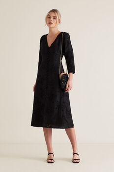 Broderie Tie Back Dress  BLACK  hi-res