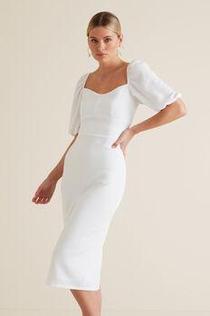 Square Neck Slimline Dress  WHISPER WHITE  hi-res