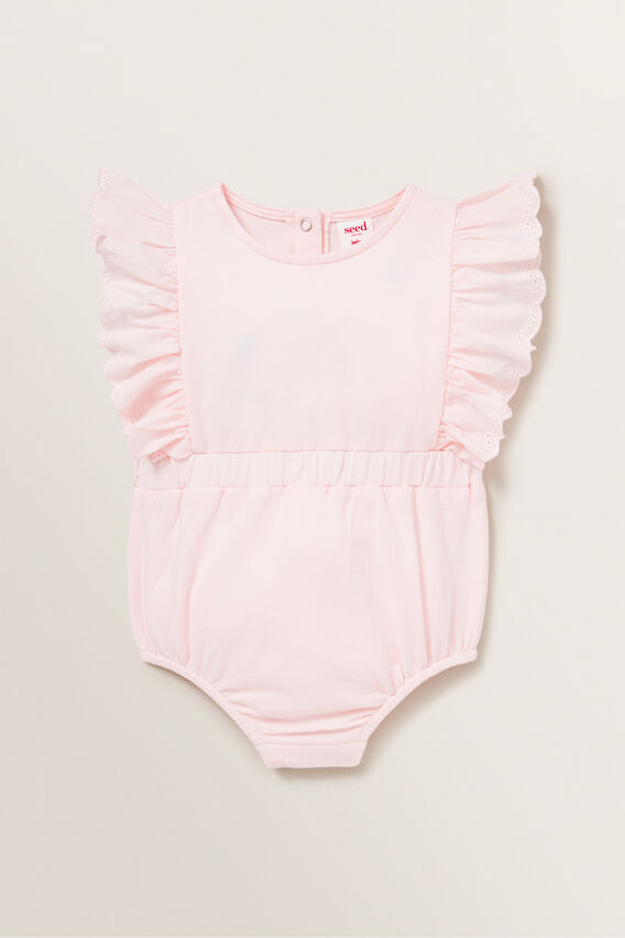 French Terry Broderie Romper  ICE PINK  hi-res