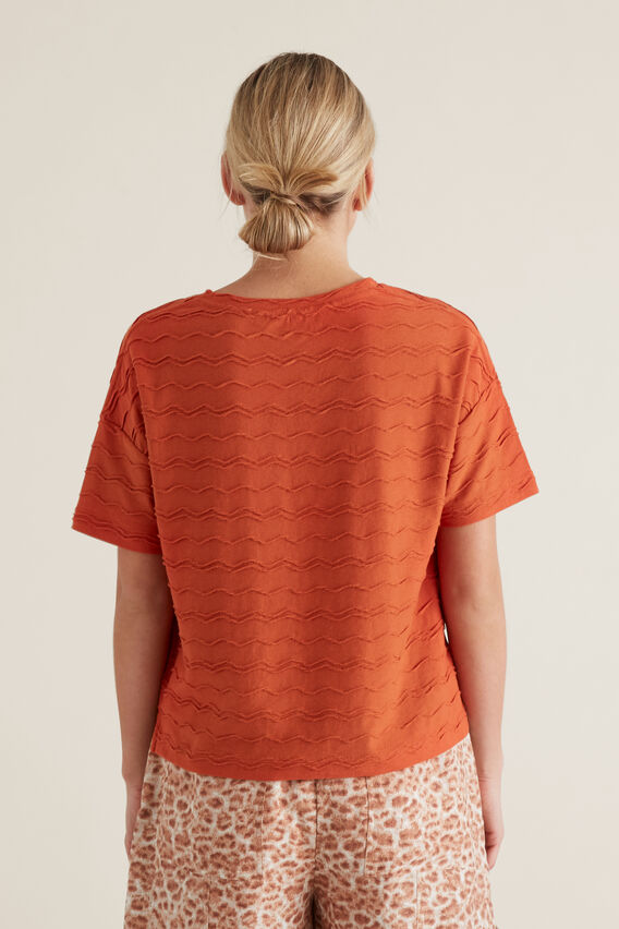 Zig Zag Textured T-Shirt  SUNBURNT ORANGE  hi-res