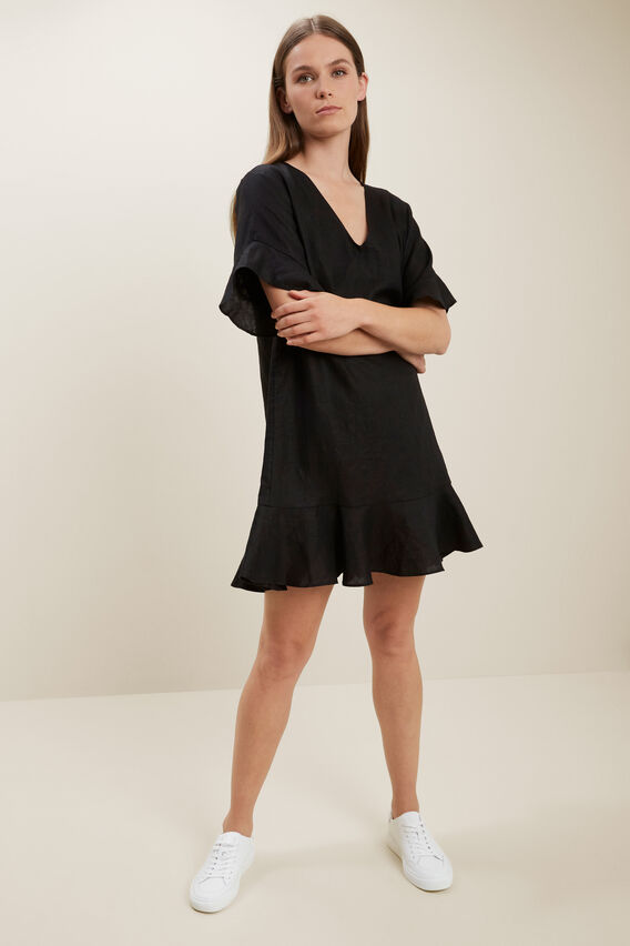 Linen Flutter Sleeve Dress  BLACK  hi-res