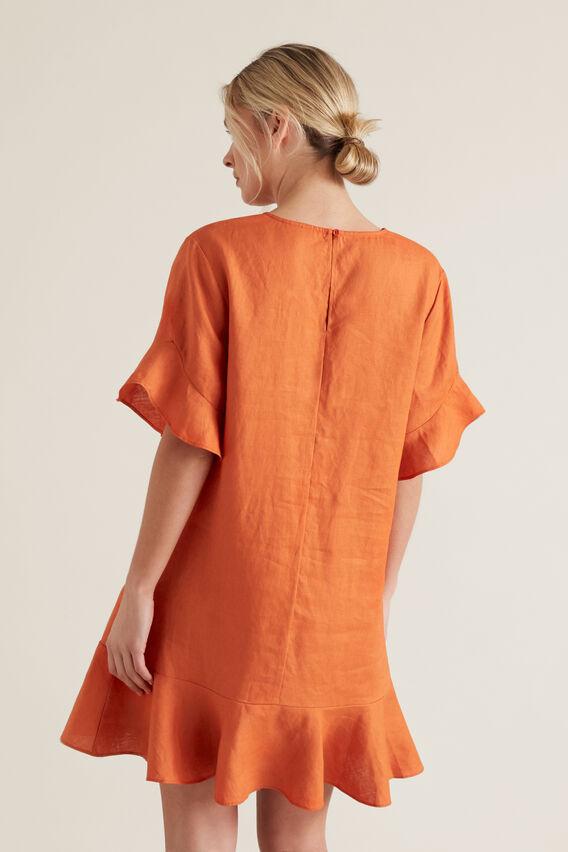 Linen Flutter Sleeve Dress  SUNBURNT ORANGE  hi-res