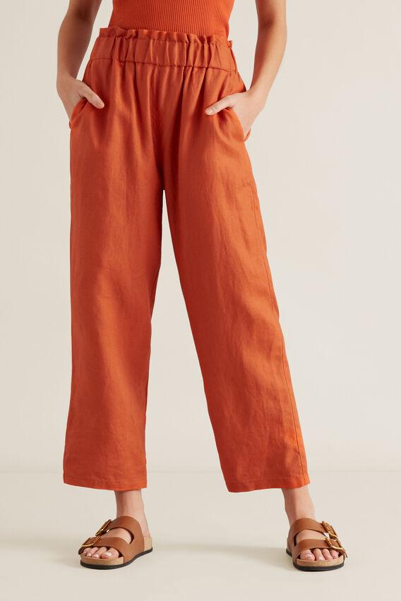 Linen Relaxed Pant  SUNBURNT ORANGE  hi-res