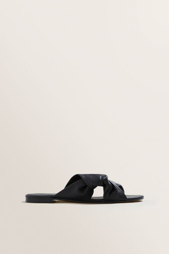 Kayla Leather Twist Slide  BLACK  hi-res