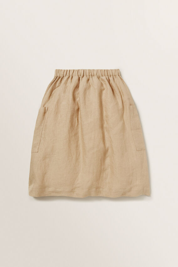 Linen Midi Skirt  WARM TAN  hi-res