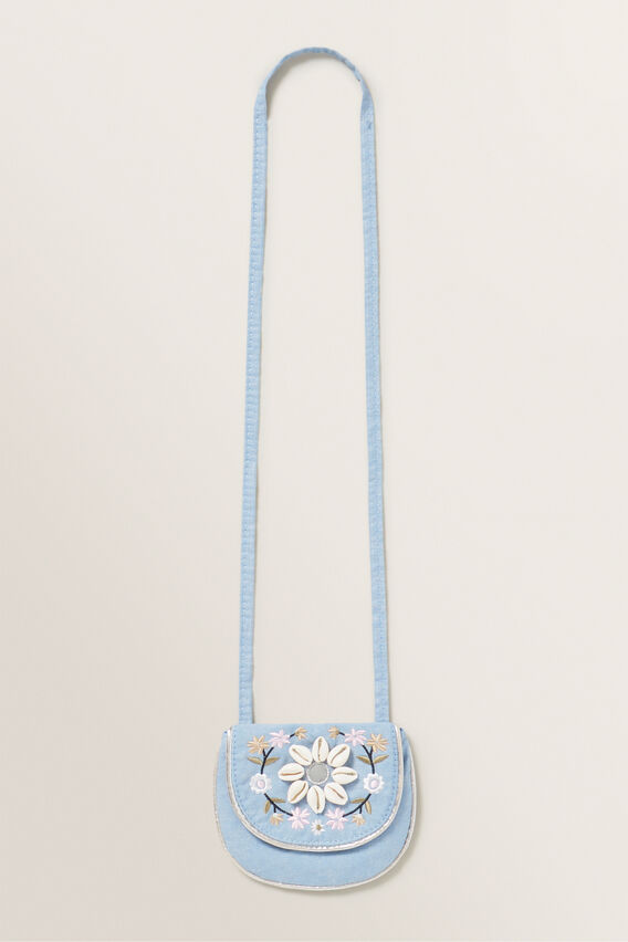 Embroidery Shell Purse  CHAMBRAY  hi-res
