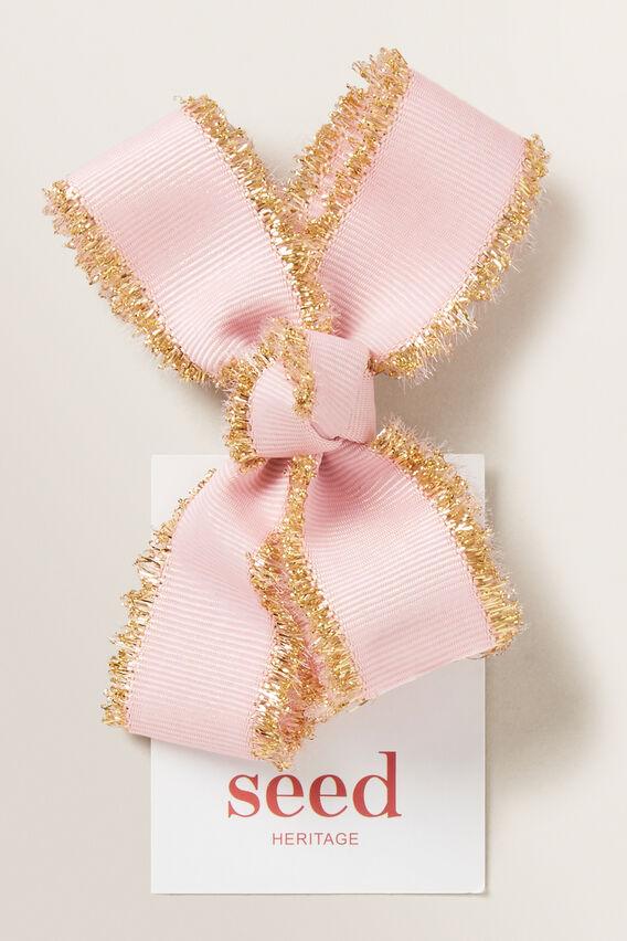 Gold Trim Bow Duck Clip  PINK  hi-res