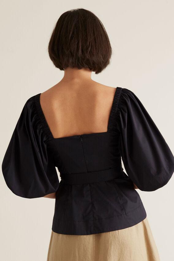 Tie Blouson Sleeve Top  BLACK  hi-res