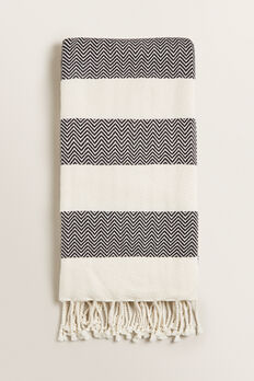 Beach Towel  BLACK/CREAM  hi-res