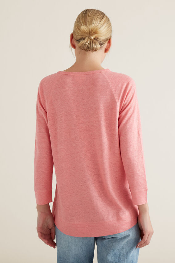 Raglan 3/4 Linen Top  CARNATION PINK  hi-res
