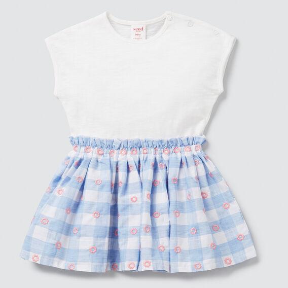 Splice Gingham Dress  PERIWINKLE  hi-res