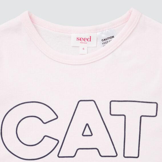 Cat Nap Slogan Pyjamas  ICE PINK  hi-res