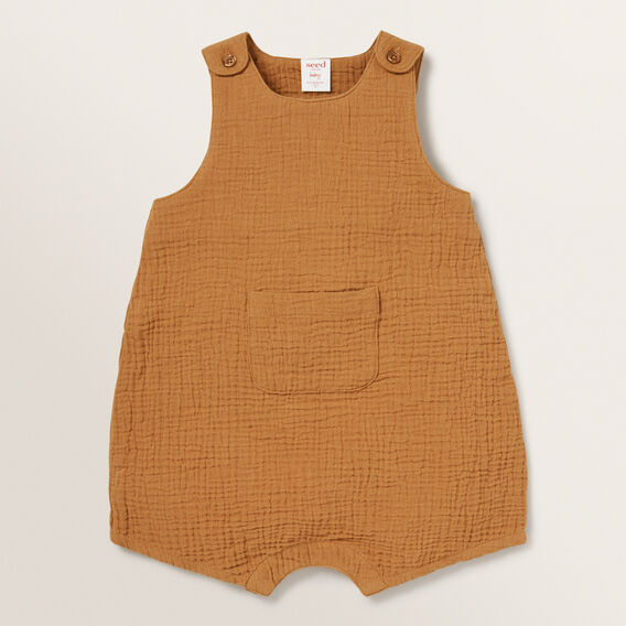 Cheesecloth Pocket Romper  NUTMEG  hi-res