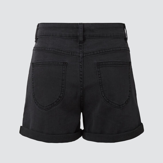 ROLLED HEM DENIM SHORT  WASHED BLACK  hi-res