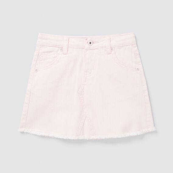 Curved Hem Denim Skirt  ICE PINK  hi-res