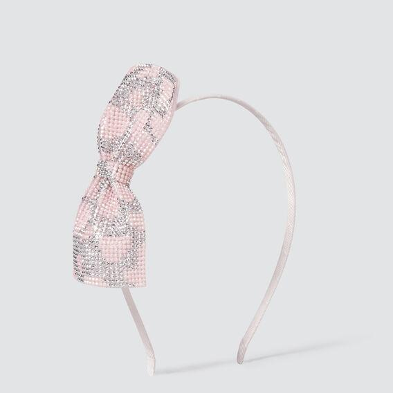 Gem Stone Bow Headband  PINK/SILVER  hi-res