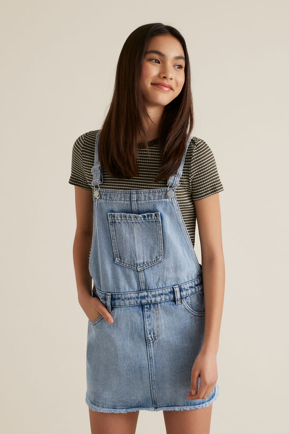 Distressed Denim Pinafore  SKY WASH  hi-res