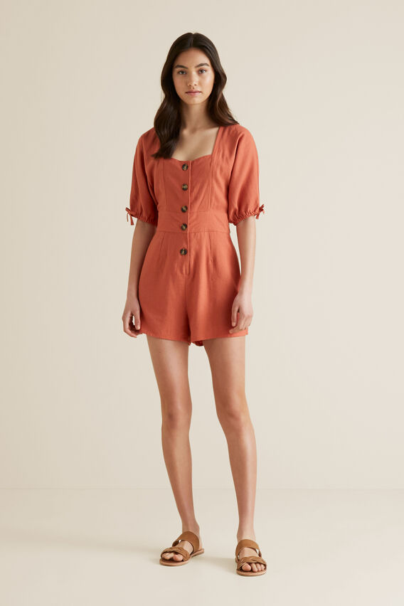 Button Front Playsuit  DESERT  hi-res