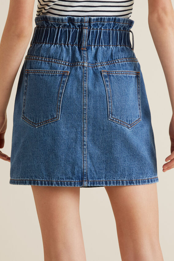 Paperbag Denim Skirt  MID INDIGO  hi-res