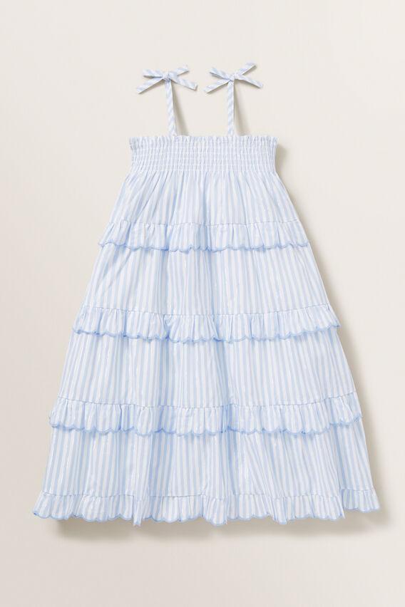 Metallic Stripe Dress  BABY BLUE  hi-res