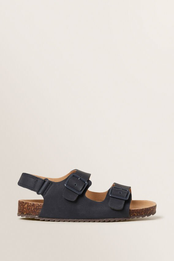 Double Buckle Slide  NAVY  hi-res