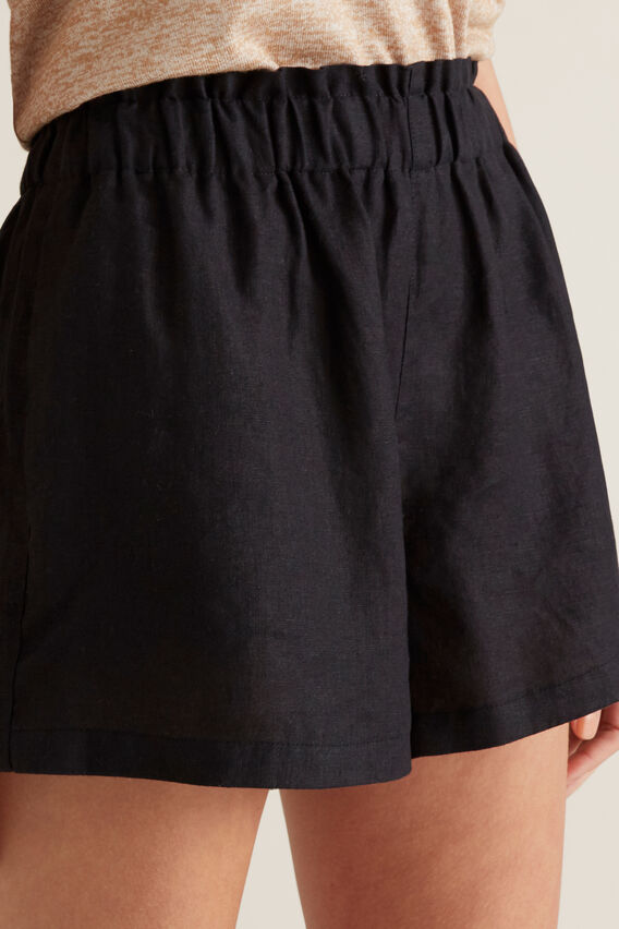 Linen Relaxed Short  BLACK  hi-res