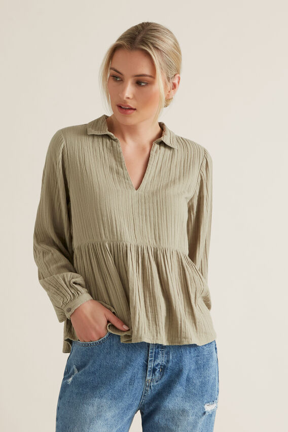 Textured Flowy Blouse  WASHED OLIVE  hi-res