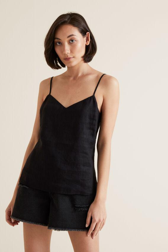Linen Cami  BLACK  hi-res