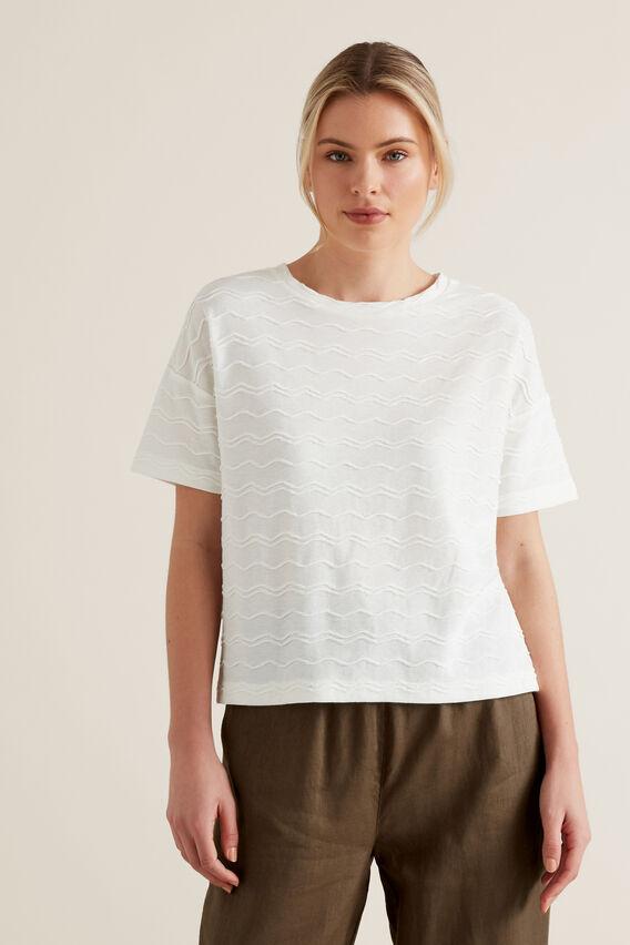 Zig Zag Textured T-Shirt  CLOUD CREAM  hi-res