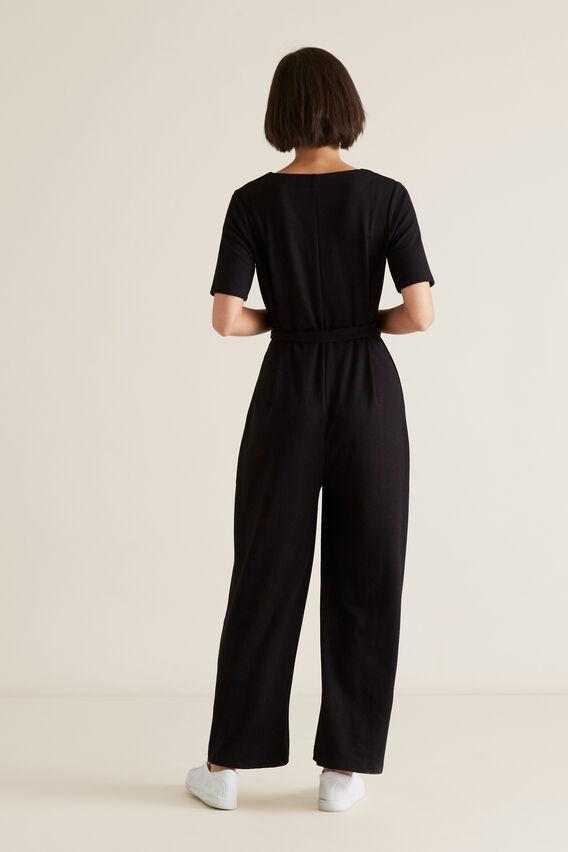 Ribbed Jersey Jumpsuit  BLACK  hi-res