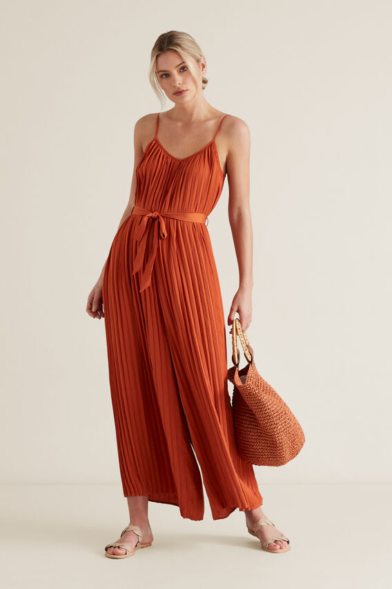 Pleated Jumpsuit  SUNBURNT ORANGE  hi-res