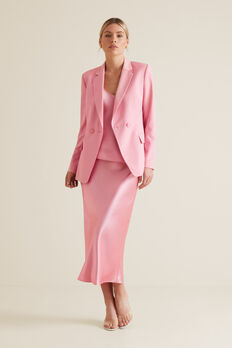 Satin Midi Skirt  WATERMELON PINK  hi-res
