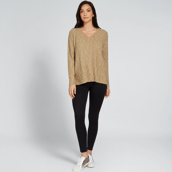 V Neck Textured Top  DARK KHAKI MARLE  hi-res