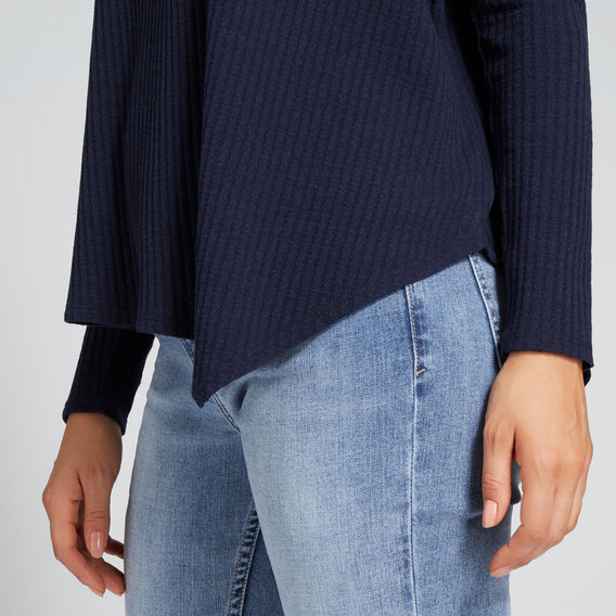 Asymmetrical Waffle Sweater  NAUTICAL BLUE MARLE  hi-res