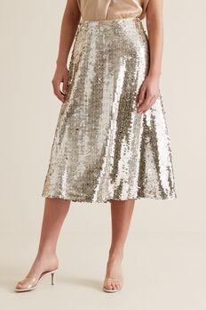 Sequin Skirt  SILVER  hi-res