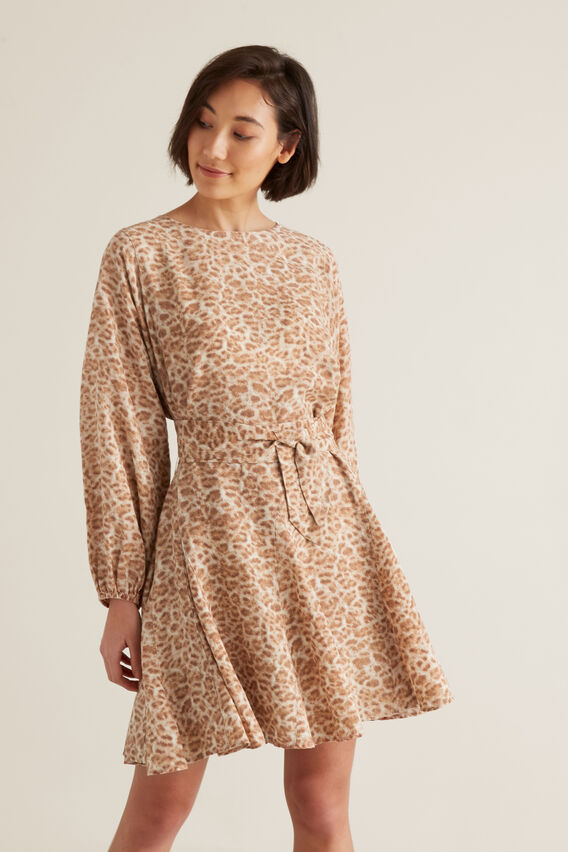 Fluted Animal Print Dress by Seed Heritage
