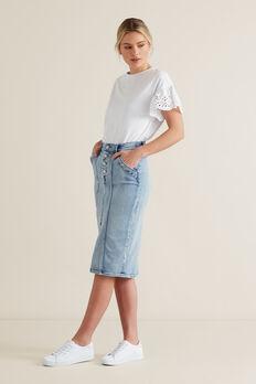 Denim Midi Skirt  LIGHT WASH DENIM  hi-res