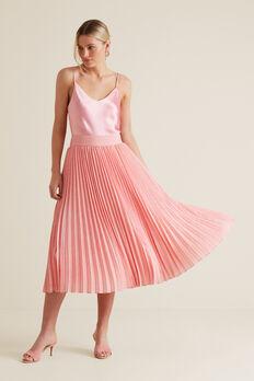 Midi Length Pleat Skirt  PINK OCELOT  hi-res