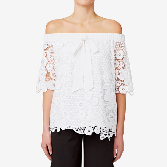 Off Shoulder Lace Top  BRIGHT WHITE  hi-res