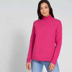 High Neck Comfy Sweater  BOLD FUCHSIA  hi-res